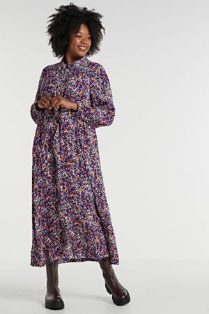 maxi blousejurk Hawa met all over print en plooien paars/oranje/wit