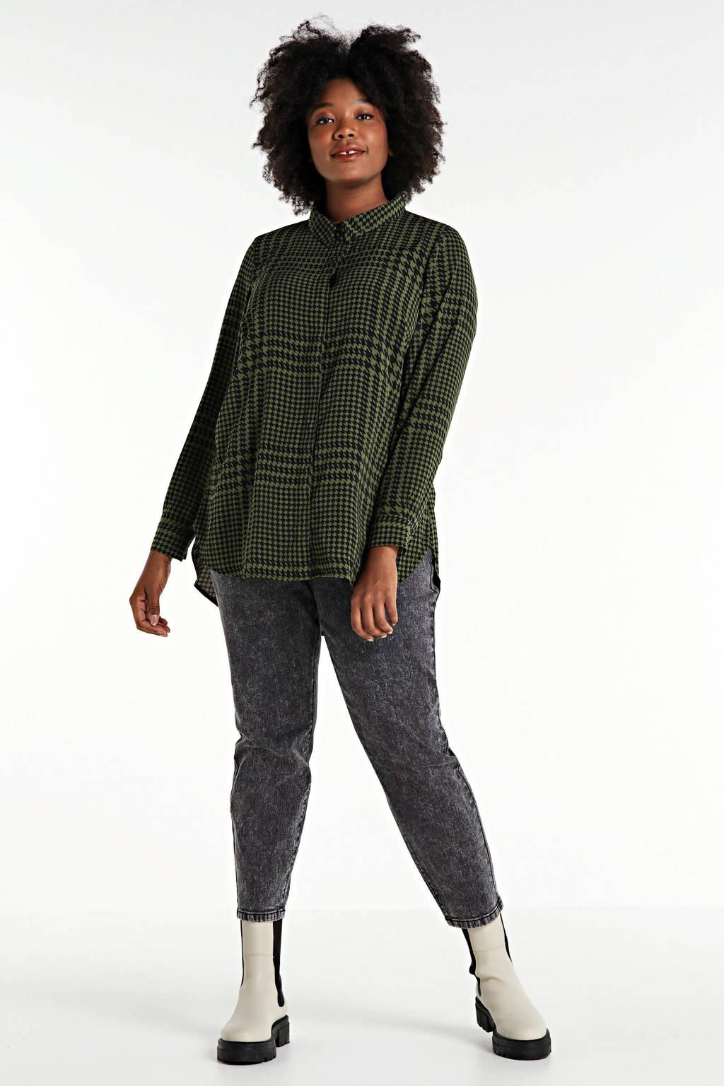 Zizzi semi-transparante blouse Hope met pied-de-poule donkergroen/zwart, Donkergroen/zwart