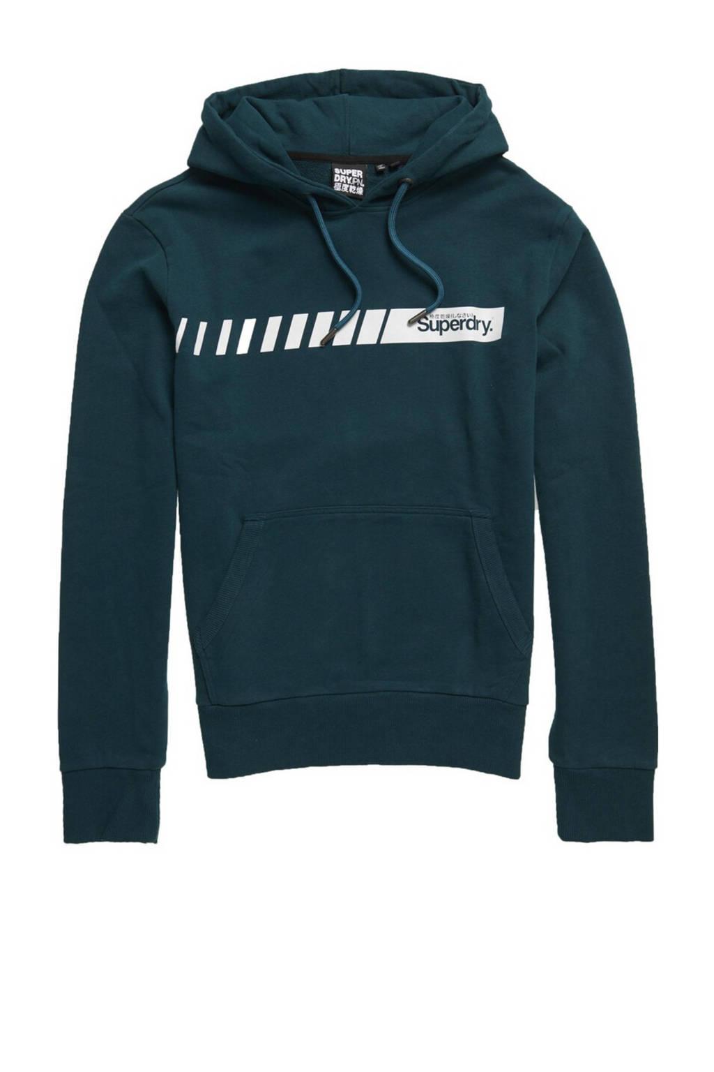 Superdry hoodie met logo petrol, Petrol
