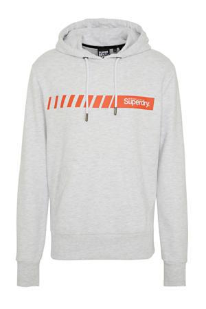 hoodie met logo lichtgrijs/rood