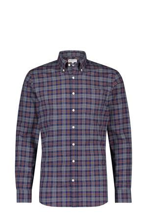 geruit slim fit overhemd blauw/grijs