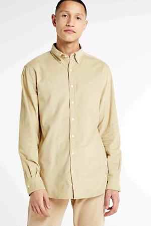 corduroy regular fit overhemd ecru