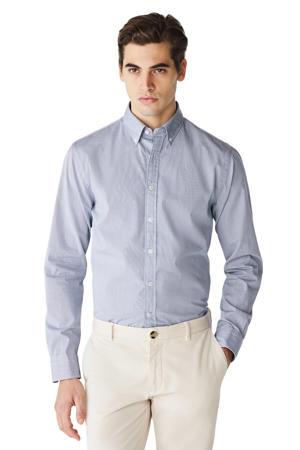 gestreept slim fit overhemd blauw