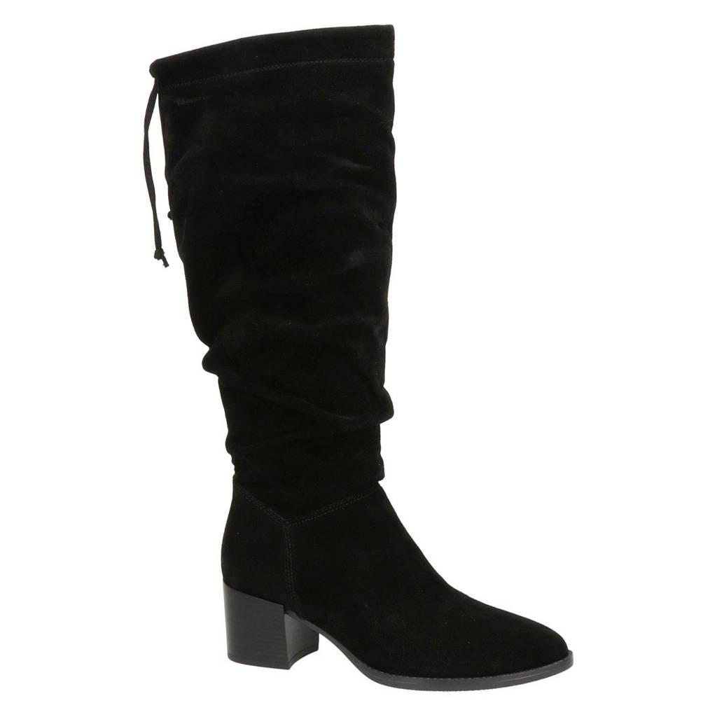 Tamaris   suède laarzen zwart, Zwart