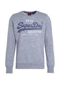 Superdry sweater met logo donkerblauw melange, Donkerblauw melange