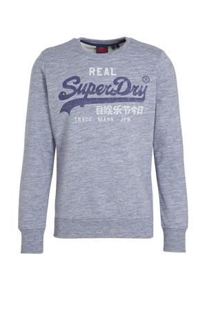 sweater met logo donkerblauw melange