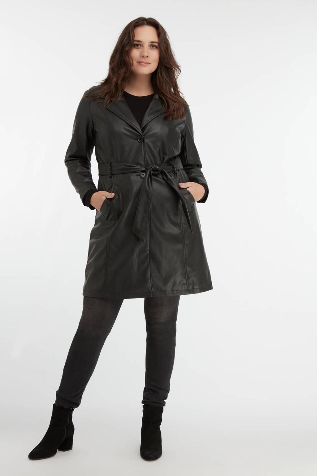 MS Mode imitatieleren coat tussen met ceintuur zwart, Zwart