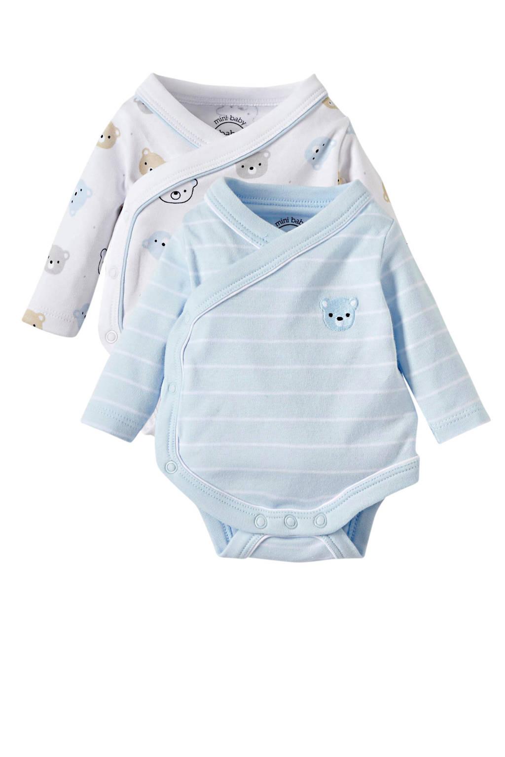 C&A Baby Club newborn romper met all over print - set van 2 lichtblauw, Lichtblauw