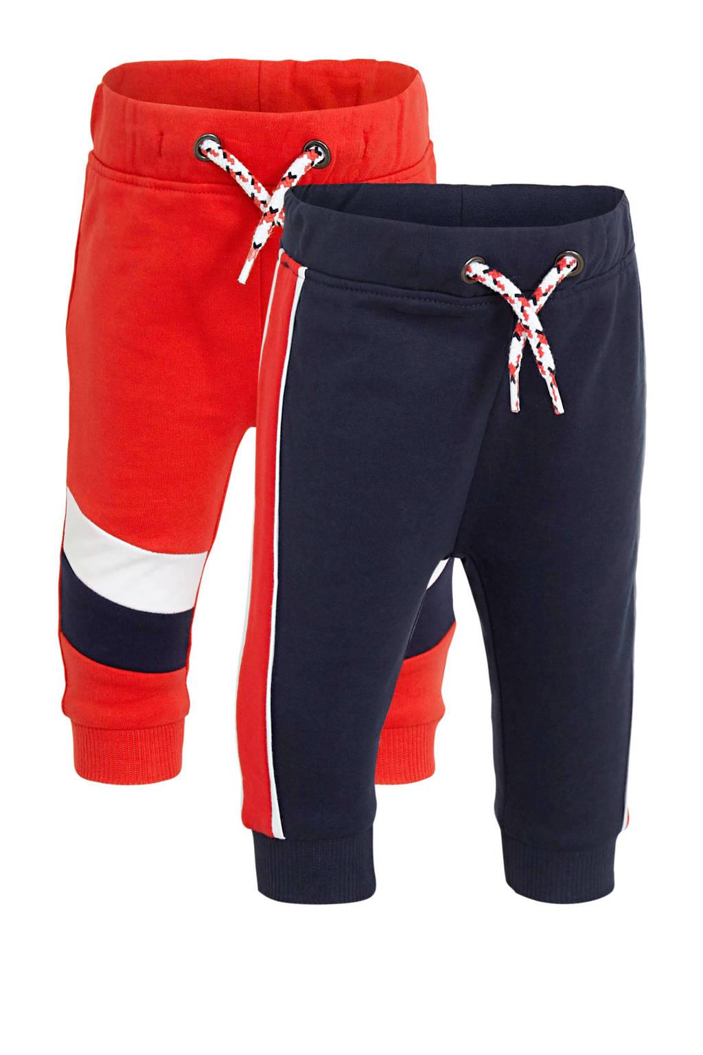 C&A Baby Club joggingbroek set van 2 rood/donkerblauw/wit, Rood/donkerblauw/wit