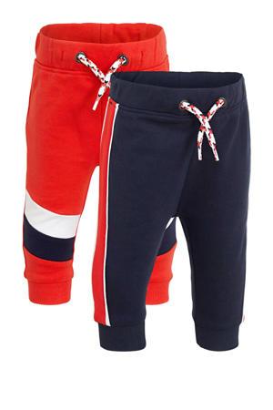 joggingbroek set van 2 rood/donkerblauw/wit