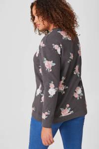 C&A XL Clockhouse gebloemde sweater antraciet/roze, Antraciet/roze