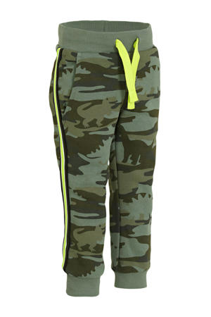 straight fit joggingbroek met camouflageprint olijfgroen