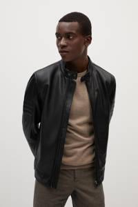 Mango Man leren jas zwart, Zwart
