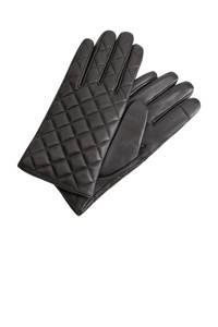 Mango leren handschoenen zwart, Zwart