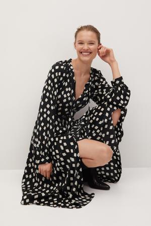 maxi jurk met all over print en ceintuur zwart/wit