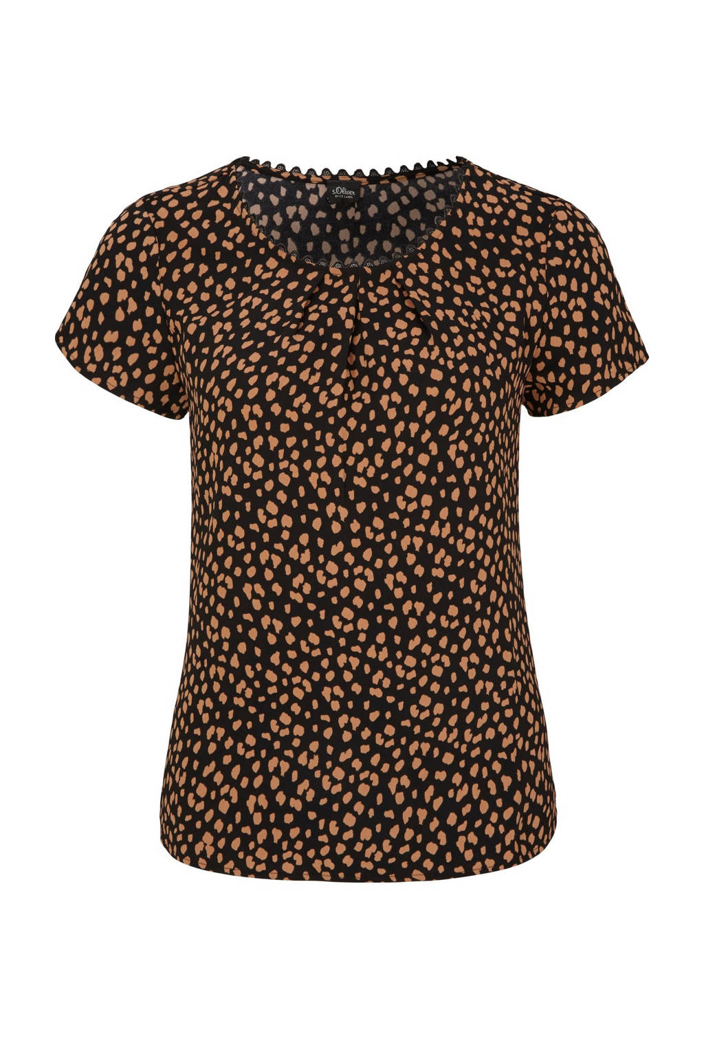s.Oliver BLACK LABEL top met all over print zwart/oranje, Zwart/oranje