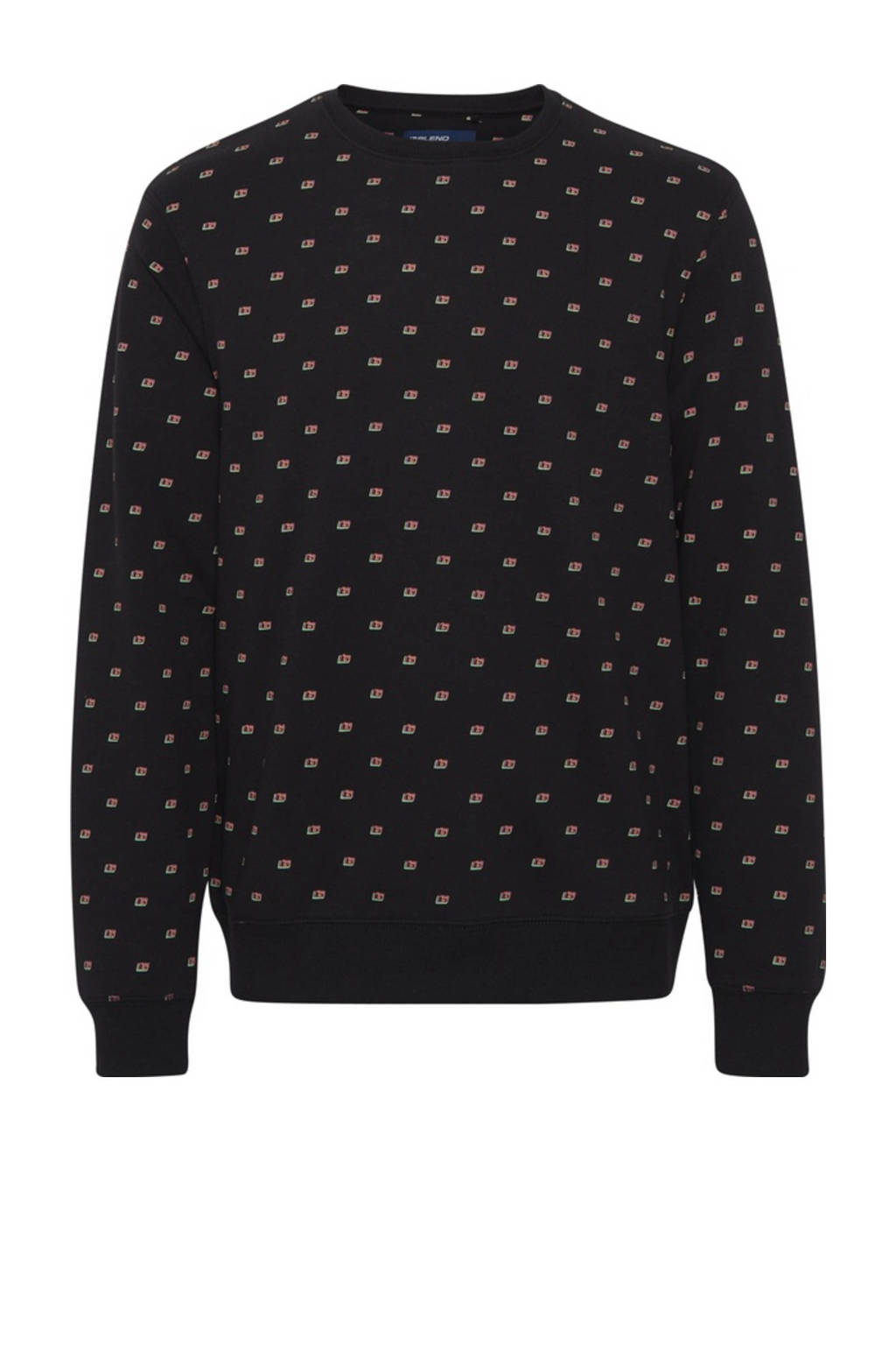 Blend sweater met all over print zwart, Zwart
