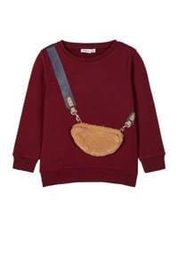 NAME IT MINI sweater Ogassi met printopdruk en 3D applicatie donkerrood/beige, Donkerrood/beige