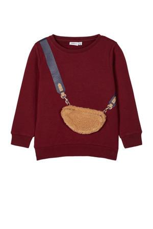 sweater Ogassi met printopdruk en 3D applicatie donkerrood/beige