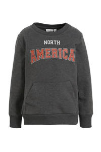 NAME IT MINI sweater Vugo met tekst antraciet/rood/wit, Antraciet/rood/wit