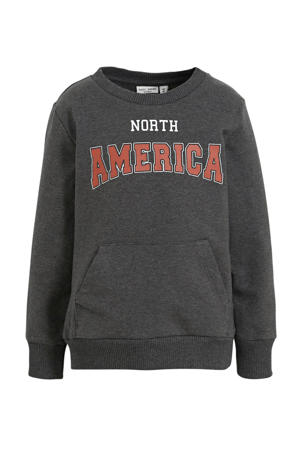 sweater Vugo met tekst antraciet/rood/wit