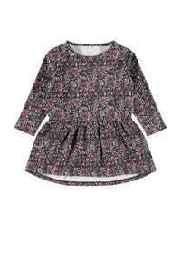 NAME IT MINI baby jurk Ogille met biologisch katoen grijs/roze/wit, Grijs/roze/wit