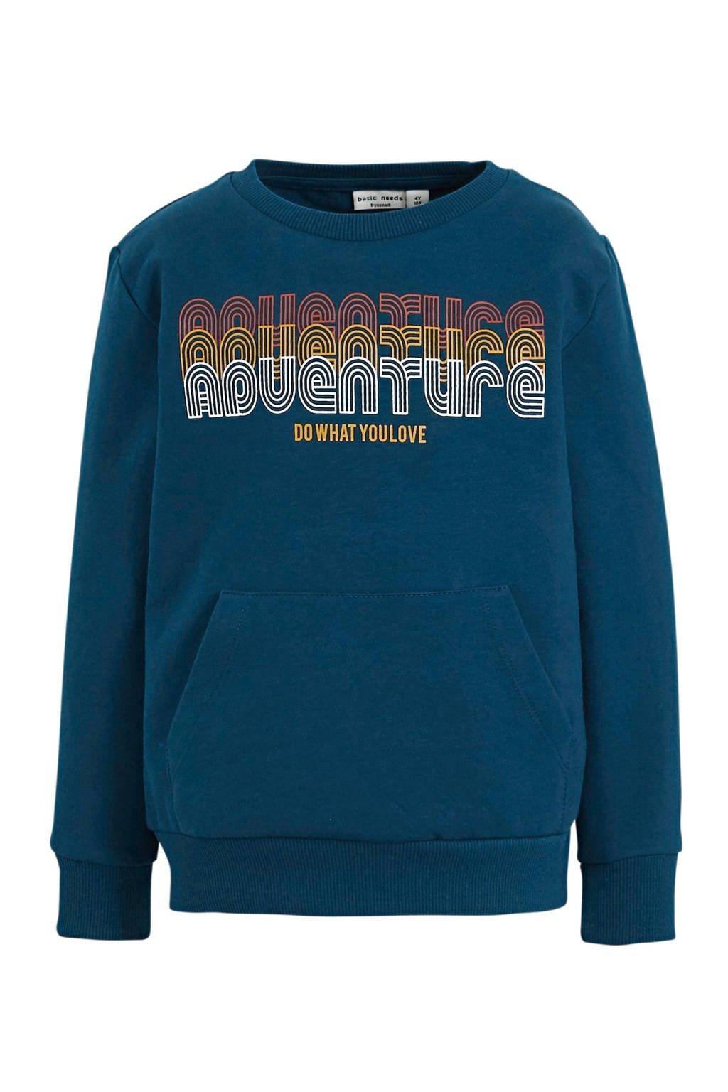 NAME IT MINI sweater Vugo met tekst blauw/wit/oranje, Blauw/wit/oranje