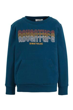 sweater Vugo met tekst blauw/wit/oranje