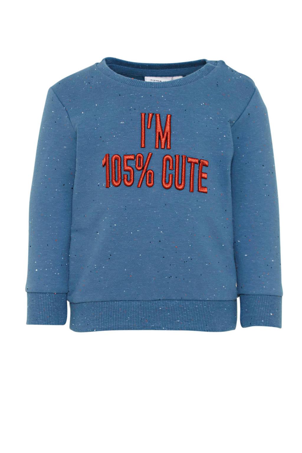 NAME IT BABY sweater Octavian met biologisch katoen blauw/rood, Blauw/rood