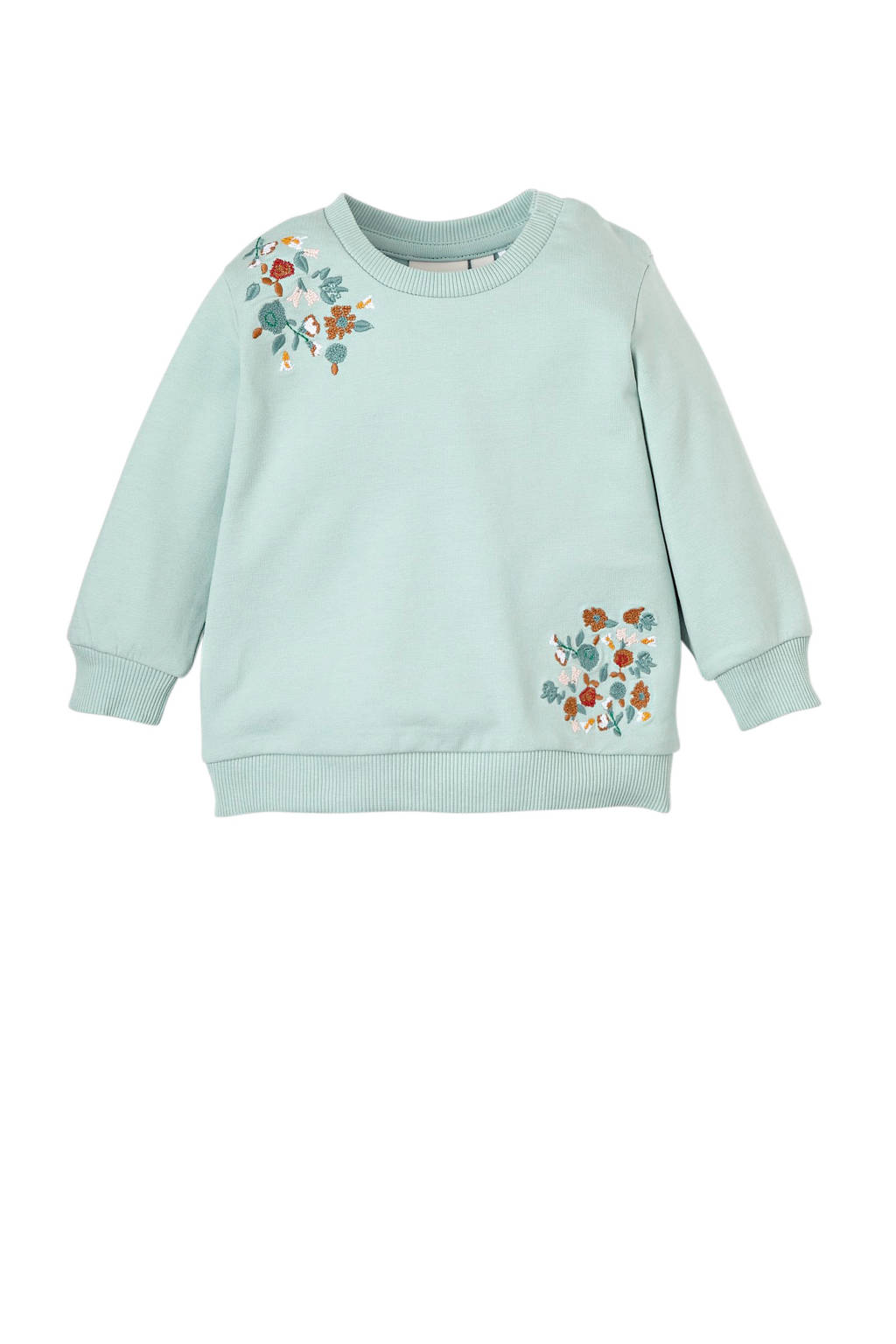 NAME IT BABY sweater Olympia met borduursels turquoise, Turquoise