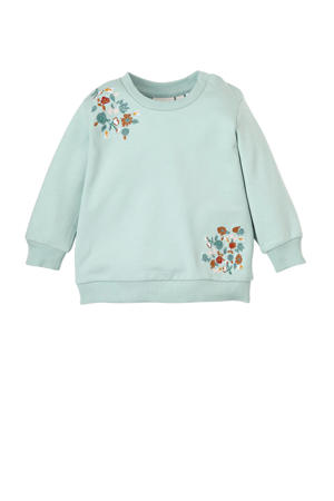 sweater Olympia met borduursels turquoise