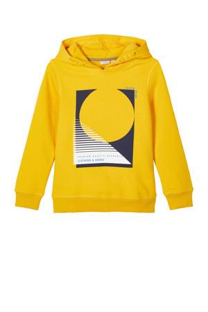 hoodie Oatrik met biologisch katoen geel/zwart/wit