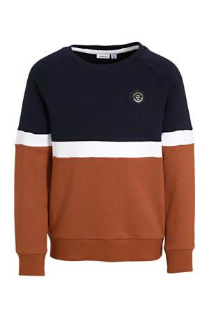 sweater Neelo brique/donkerblauw/wit
