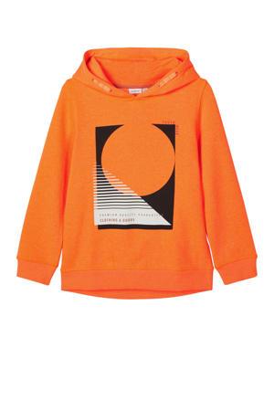 hoodie Oatrik met biologisch katoen oranje/zwart/wit