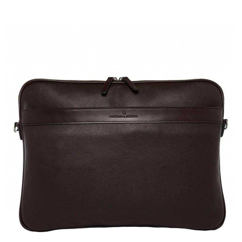 Castelijn & Beerens  15.6 inch leren laptoptas Vivo Compacte donkerbruin, Donkerbruin