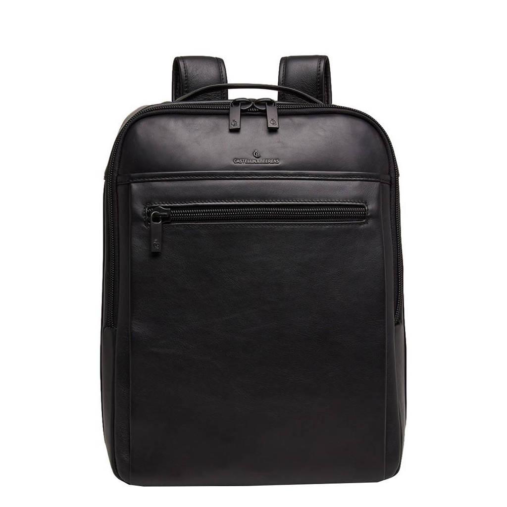 Castelijn & Beerens  15,6 inch leren business rugzak Nappa x Victor zwart, Zwart