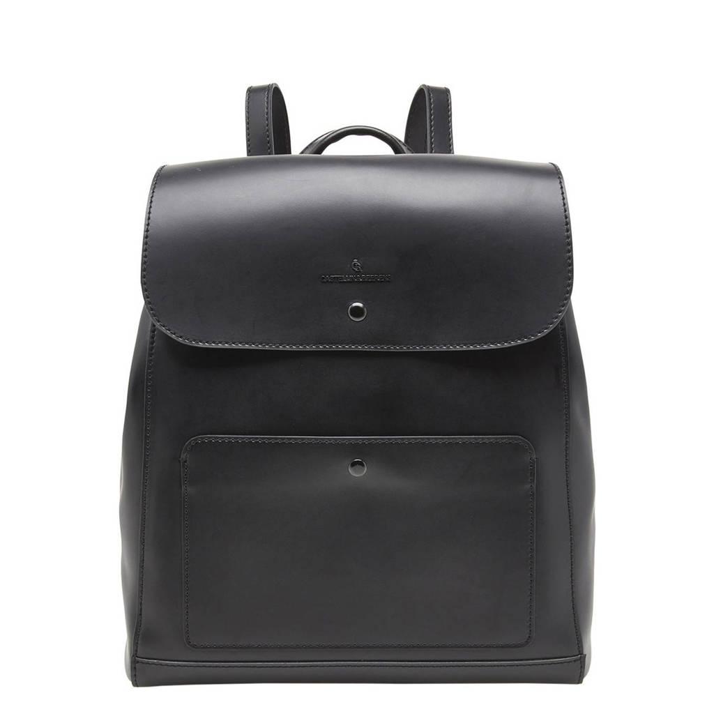 Castelijn & Beerens  13,3 inch leren rugzak Lauren zwart, Zwart