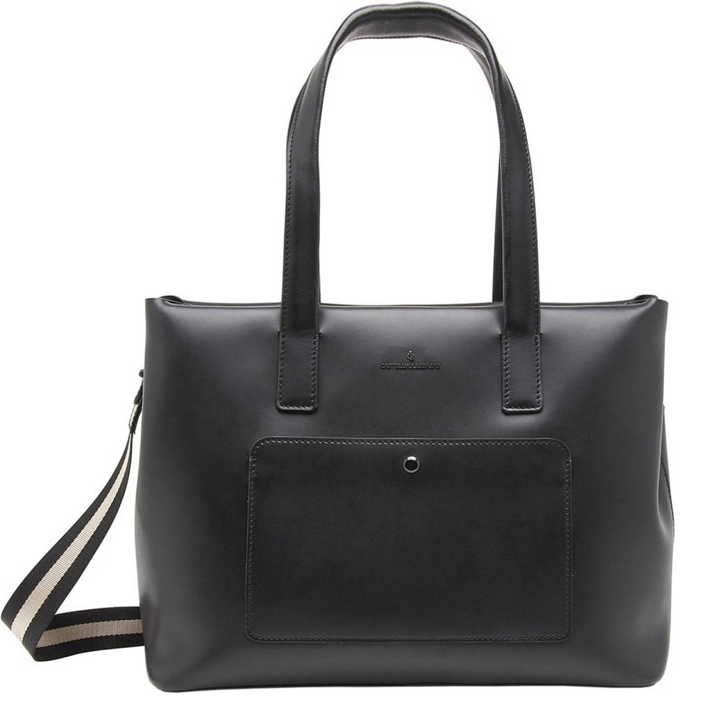 Castelijn & Beerens  15.6 inch leren laptoptas Noor zwart, Zwart