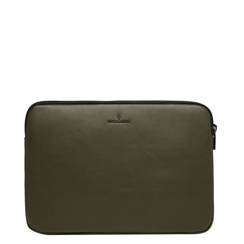 Castelijn & Beerens  15.6 inch leren laptopsleeve Nappa X Mike kaki, Kaki