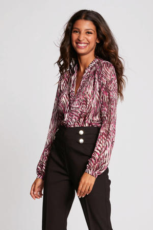 blouse met all over print framboise