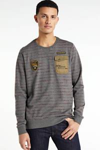 PME Legend gestreepte sweater grijs/groen, Grijs/groen