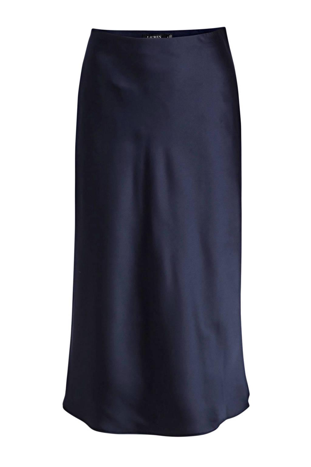 Lauren Ralph Lauren satijnen midi-rok marine, Donkerblauw