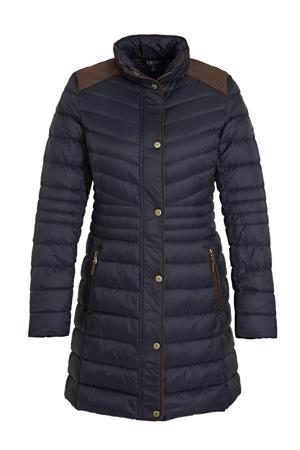 gewatteerde jas donkerblauw/bruin