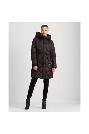 gewatteerde jas met ceintuur zwart