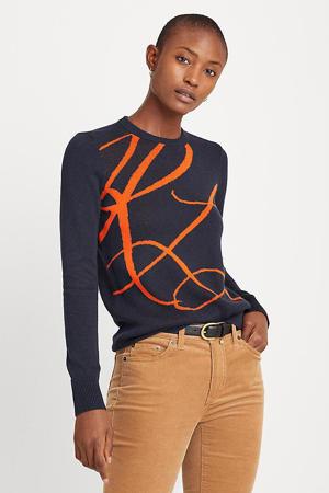 fijngebreide trui donkerblauw/oranje