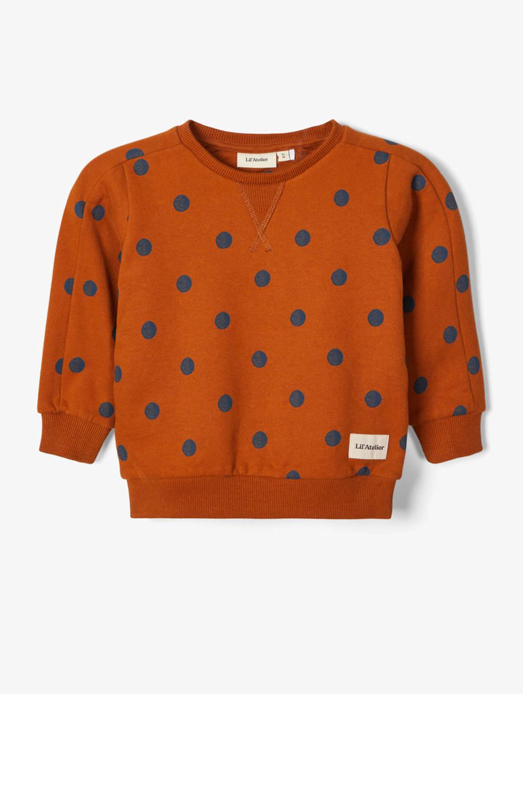 LIL' ATELIER MINI sweater Elmo van biologisch katoen donker oranje/donkerblauw, Donker oranje/donkerblauw