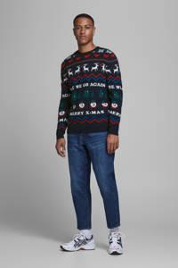 JACK & JONES ORIGINALS trui van biologisch katoen donkerblauw/rood, Donkerblauw/rood