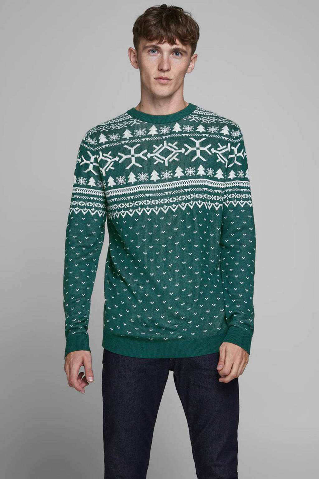 JACK & JONES ORIGINALS trui met all over print groen, Groen