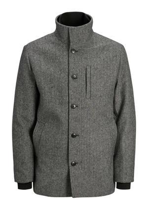 jas met wol en visgraat zwart/wit