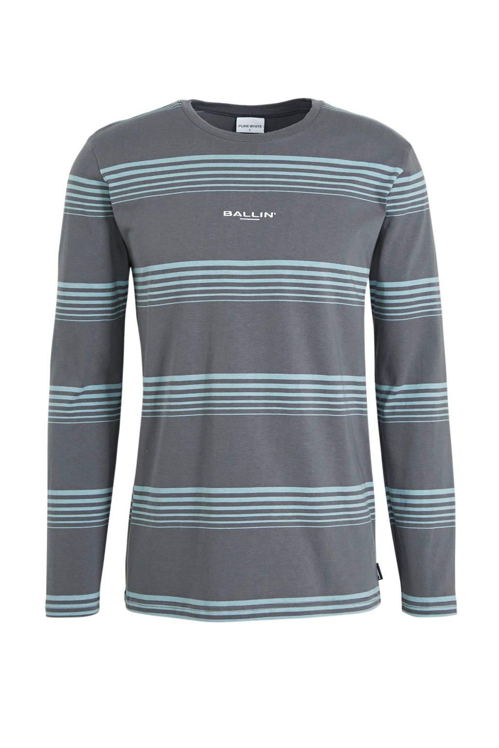 Ballin gestreept T-shirt grijs/blauw, Grijs/blauw